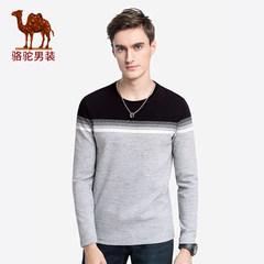 骆驼男装 2018秋季新款男青年长袖圆领条纹T恤衫休闲柔软上衣服