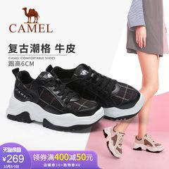 Camel/yabo sports app2018新款 真皮透气运动鞋女时尚休闲鞋子深口厚底单鞋