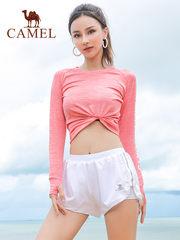 骆驼 2018秋新款休闲运动上衣修身印花瑜伽健身服高弹性圆领T恤女