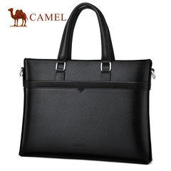 Camel骆驼男包2018新款男士牛皮手提包商务横款单肩斜挎公文包男