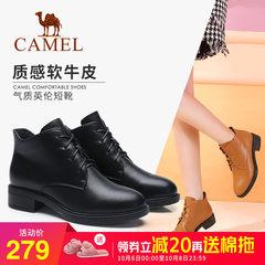 骆驼2018春秋季新款短靴真皮马丁靴系带休闲女鞋加绒保暖靴子女