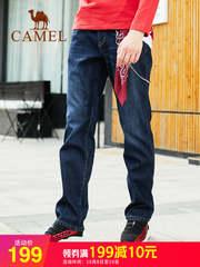 骆驼男装2018秋冬新款牛仔裤男宽松直筒韩版潮流加绒大码休闲长裤