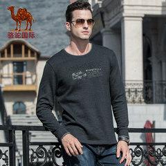 骆驼男装 2018秋季新款休闲潮流青年印花棉圆领长袖T恤男士打底衫