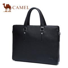 骆驼男包商务包男士手提包公文包商务横款单肩包斜挎包真皮电脑包