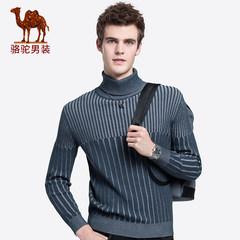 骆驼男装 2018秋冬新款青年时尚长袖套头可翻高领修身条纹毛衣男