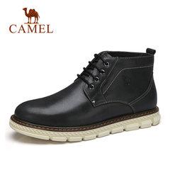 骆驼男靴秋冬休闲系带男士皮靴鞋子男牛皮青年耐磨高帮靴舒适潮靴