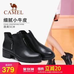骆驼2018秋季新款短靴复古切尔西靴方跟裸靴女鞋圆头中跟简约靴子