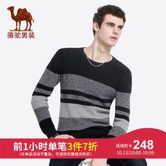 骆驼男装 2018秋季新款青年圆领套头撞色条纹休闲时尚长袖毛衣男