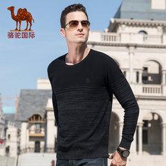 駱駝男裝 2018秋冬新款時尚潮流青年男士直筒套頭圓領針織棉毛衣