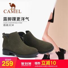 骆驼2018新款秋季粗跟短靴女磨砂英伦切尔西靴时尚低跟女鞋女靴子