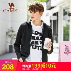 骆驼男装2018秋冬新款韩版潮流上衣连帽拉链卫衣针织外套男开衫