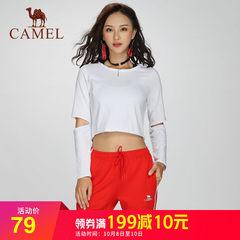 骆驼运动 2018秋季新品休闲T恤长袖短款露脐性感健身瑜伽上衣女