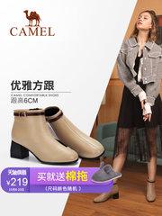 骆驼女鞋2018新款小短靴女冬季瘦瘦靴保暖加绒短筒粗跟高跟女靴子