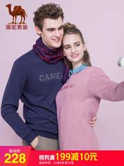 骆驼男装 2018秋冬新款男青年时尚圆领字母加绒情侣款休闲女卫衣