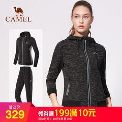 2018新款骆驼运动卫衣女套装秋季休闲舒适透气长袖圆领时尚运动服