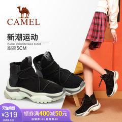 骆驼女鞋2018冬季新款平跟时尚街头复古运动舒适厚底短筒女靴子冬