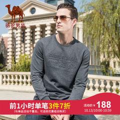 骆驼牌男装 2018秋冬新款时尚休闲青年纯色打底衫圆领长袖T恤男