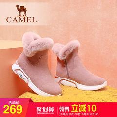 骆驼2018秋冬新款运动休闲雪地靴加绒保暖短筒靴子女厚底毛毛短靴