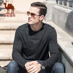 駱駝男裝 2018秋季新款休閑潮流青年印花純色圓領長袖T恤男打底衫