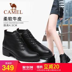 骆驼2018秋季新款时尚英伦马丁靴牛皮休闲靴子方跟系带女短靴