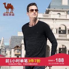 骆驼牌男装 2018秋冬新款时尚青年男士直筒套头圆领针织纯棉毛衣