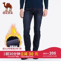 骆驼男装 2018秋冬新款青年时尚中腰直筒微弹加绒加厚牛仔长裤男