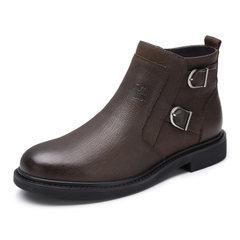 骆驼男鞋2018秋季新款商务皮靴加绒保暖高帮套脚皮鞋短筒牛皮男靴