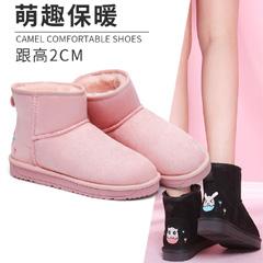 骆驼2018秋冬新款雪地靴可爱加绒加厚短筒绒面短靴保暖平底靴子女