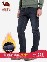 骆驼男装 2018秋冬新款青年韩版加绒加厚牛仔裤商务直筒保暖裤子