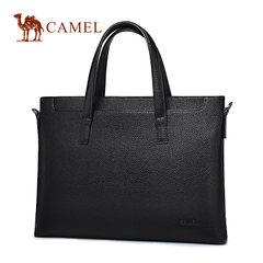 骆驼正品男士手提包商务包休闲电脑公文包青年真皮时尚横款手拿包