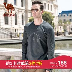 骆驼牌男装 2018秋季新款时尚青年纯色打底衫印花圆领长袖T恤男