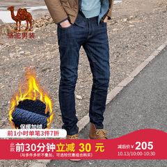 骆驼男装2018秋冬新款加绒牛仔裤男宽松直筒商务休闲男裤大码长裤