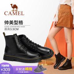骆驼女鞋2018新款女靴子冬黑色机车短靴女英伦风平底秋季马丁靴女