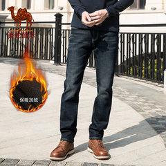 骆驼男装 2018秋季新款潮流微弹加绒加厚保暖牛仔裤男士休闲长裤