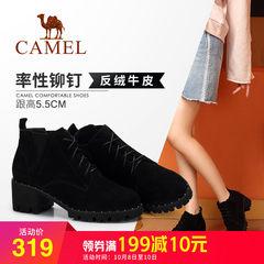 Camel/骆驼2018冬季新款 粗跟时尚街头潮流舒适拉链低跟短筒女靴