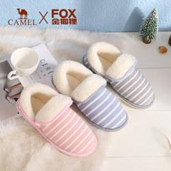 骆驼金狐狸联名款2018秋冬季新款时尚条纹休闲保暖舒适居家拖鞋