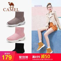 骆驼2018秋冬季新款雪地靴保暖加绒运动内增高女鞋绒面加厚短靴子