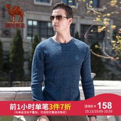 骆驼牌男装2018秋冬新款时尚潮流青年男士纯色直筒圆领针织棉毛衣