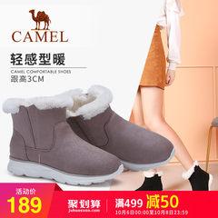 骆驼2018冬季新款雪地靴女加绒短筒绒面运动底短靴保暖毛毛靴子女