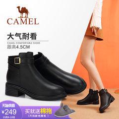 Camel/骆驼女鞋 2018冬季新品时尚英伦简约方跟舒适百搭靴子女