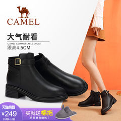 Camel/駱駝女鞋 2018冬季新品時尚英倫簡約方跟舒適百搭靴子女