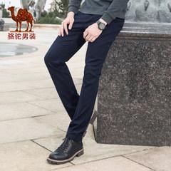 骆驼牌男装秋季新款时尚中腰纯色休闲裤舒适微弹直筒宽松长裤男