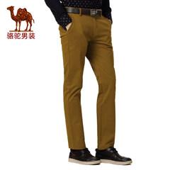 骆驼男装 冬款微弹中腰纯色直筒休闲裤 商务休闲流行长裤 男