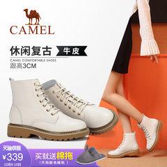 Camel/駱駝2018冬季新款 復古時尚質感有型街頭潮流休閑系帶女靴