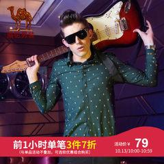 特卖骆驼男装 时尚尖领印花猫头鹰图案长袖衬衫青年休闲长袖衬衣