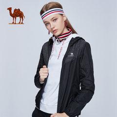 骆驼运动外套女 秋新款2018薄款透气连帽茄克开衫跑步健身休闲服