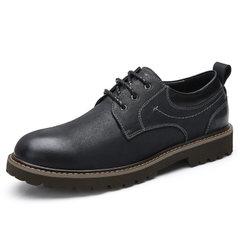 骆驼男鞋 2018秋季新款商务休闲低帮真皮工装风青年男生鞋