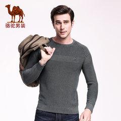 骆驼毛衣男 秋冬季圆领纯棉修身长袖男士针织衫 韩版潮流套头毛衫