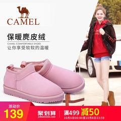 Camel/骆驼女靴2018秋冬新款雪地靴女平底加绒保暖休闲套筒短靴女