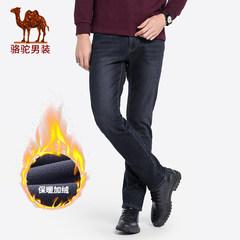 骆驼男装 2018秋冬新款男士加绒加厚牛仔裤直筒商务保暖长裤子男